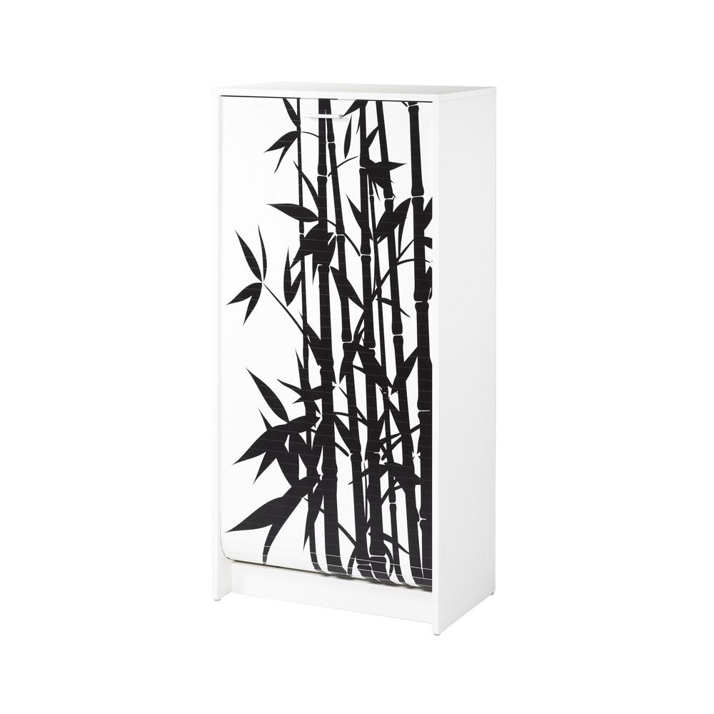 Meuble à chaussures 21 paires bois noir et blanc bambou - Univers Petits Meubles : Tousmesmeubles