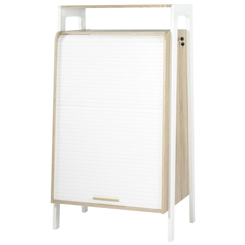 Armoire informatique à rideau bois blanc et bois clair - Univers Bureau : Tousmesmeubles