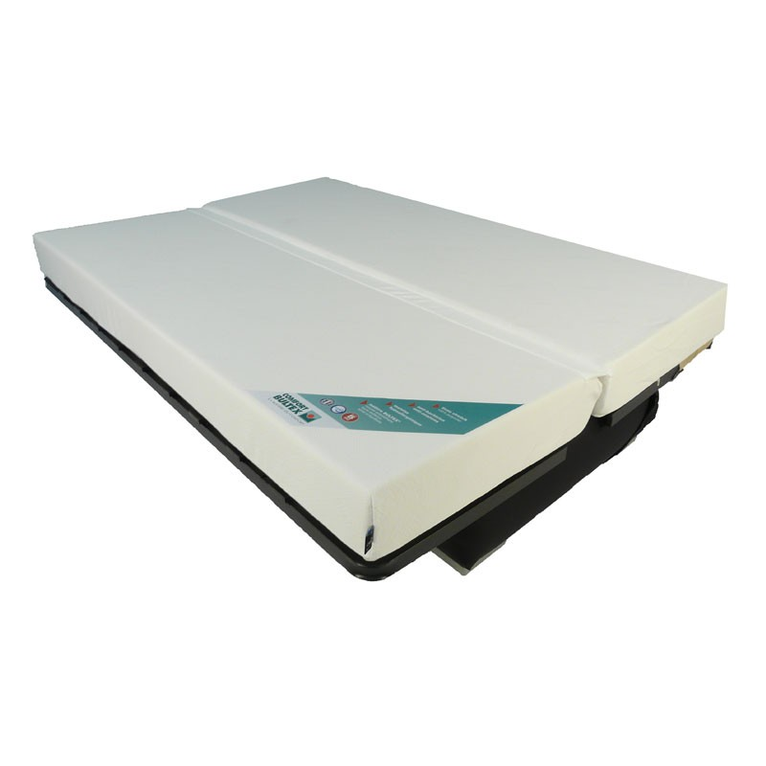 banquette lit clic clac gris blanc matelas bultex 130cm speed bria n 1. Black Bedroom Furniture Sets. Home Design Ideas