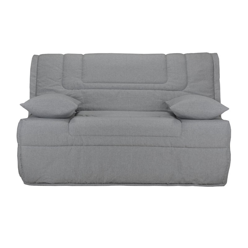banquette lit bz microfibre gris uni matelas bultex 140 cm. Black Bedroom Furniture Sets. Home Design Ideas