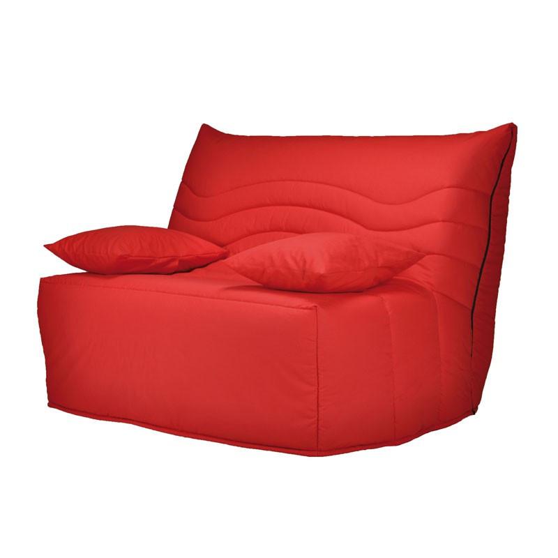 Banquette-lit BZ120*200 - convertible tissu rouge coussins rouges - Univers Salon et Assises : Tousmesmeubles
