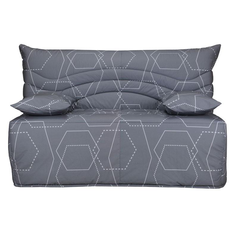 Banquette-lit BZ 140*200 cm - convertible tissu gris motifs - Univers Assises et Salon : Tousmesmeubles