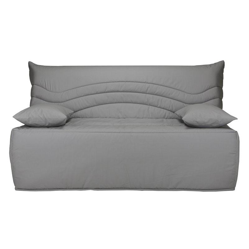 Banquette-lit BZ 160*200 cm - convertible tissu gris uni - Univers Salon et Assises : Tousmesmeubles