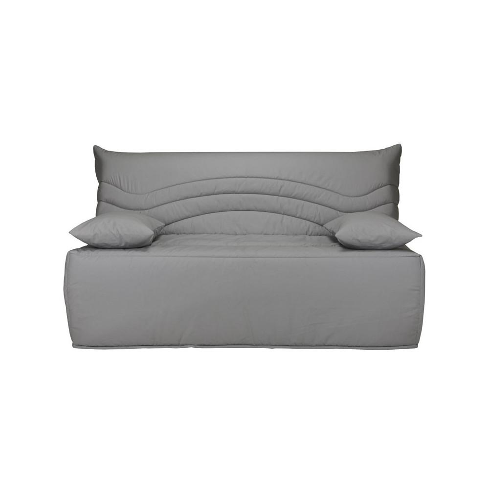banquette lit bz microfibre gris uni matelas 12 cm hr 160 cm speed rico. Black Bedroom Furniture Sets. Home Design Ideas
