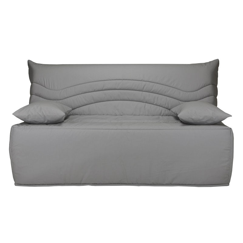 banquette lit bz microfibre gris uni matelas 12 cm hr 160 cm speed rico. Black Bedroom Furniture Sets. Home Design Ideas