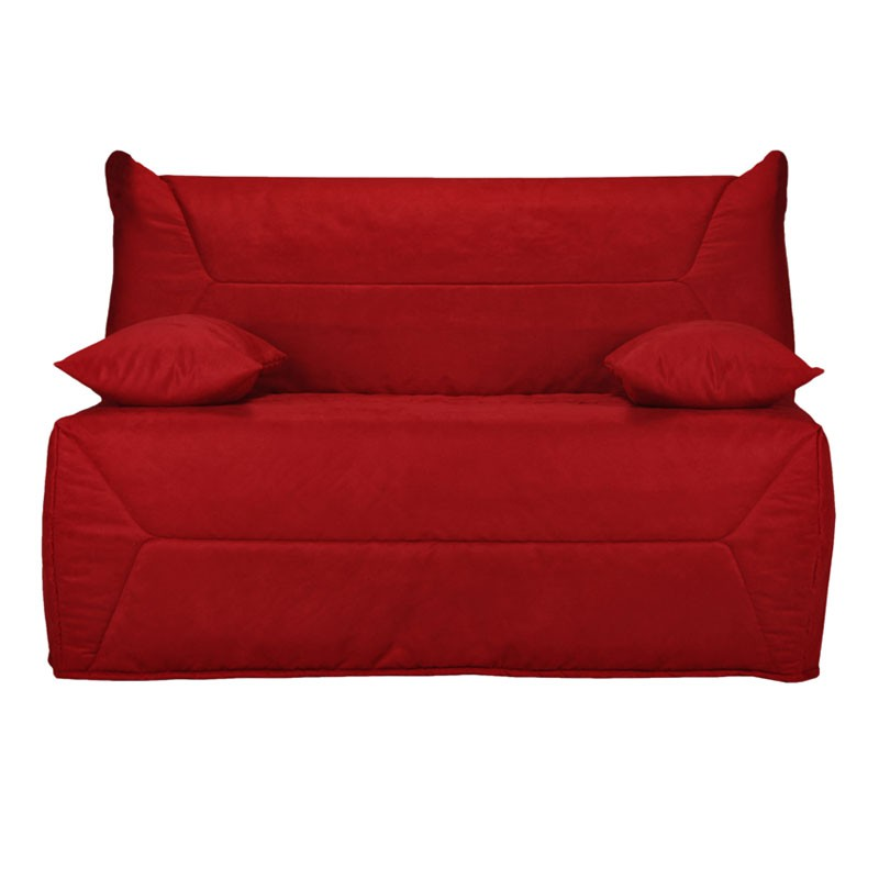 banquette lit bz rouge uni microfibre matelas hr 140 cm speed ticy n 7. Black Bedroom Furniture Sets. Home Design Ideas
