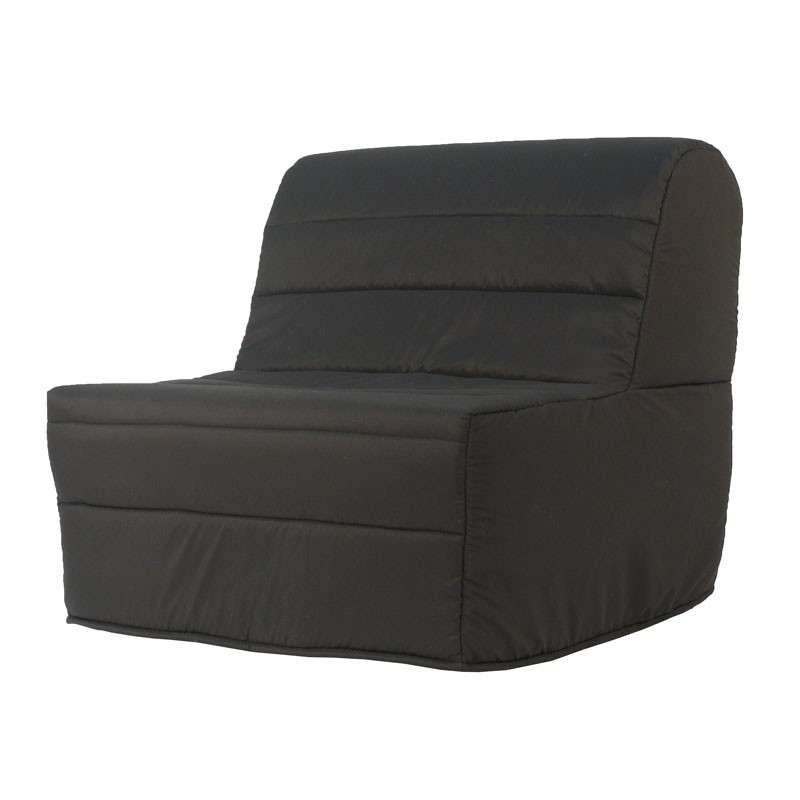 fauteuil lit bz noir microfibre uni moderne matelas hr 90 cm elia n 1. Black Bedroom Furniture Sets. Home Design Ideas