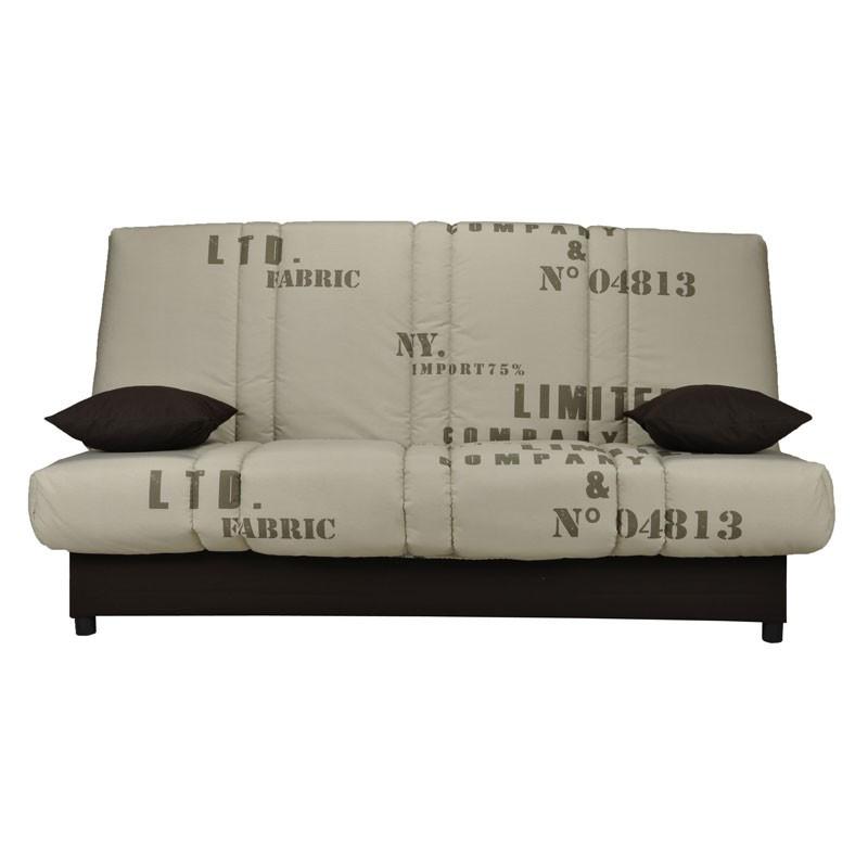 Banquette-lit clic-clac 130*190 cm - convertible tissu beige coussins noirs - Univers Assises et Salon : Tousmesmeubles