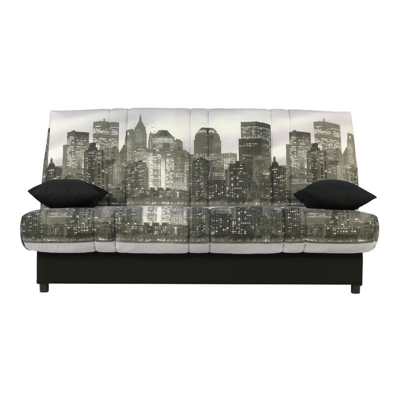 Banquette-lit clic-clac 130*190 cm - convertible tissu beige Ville coussins noirs - Univers Assises et Salon : Tousmesmeubles
