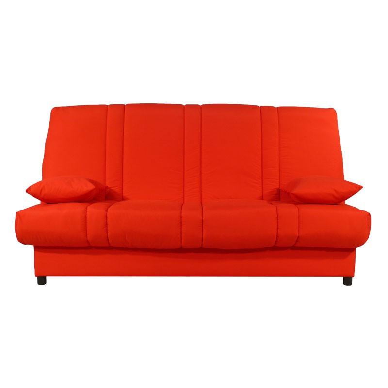 Banquette-lit clic-clac 130*190 cm - convertible tissu rouge uni moderne - Univers Assises et Salon : Tousmesmeubles