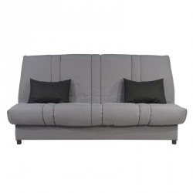 Banquette-lit clic-clac 130*190 cm - convertible tissu gris coussins noir uni - Univers Assises et Salon : Tousmesmeubles