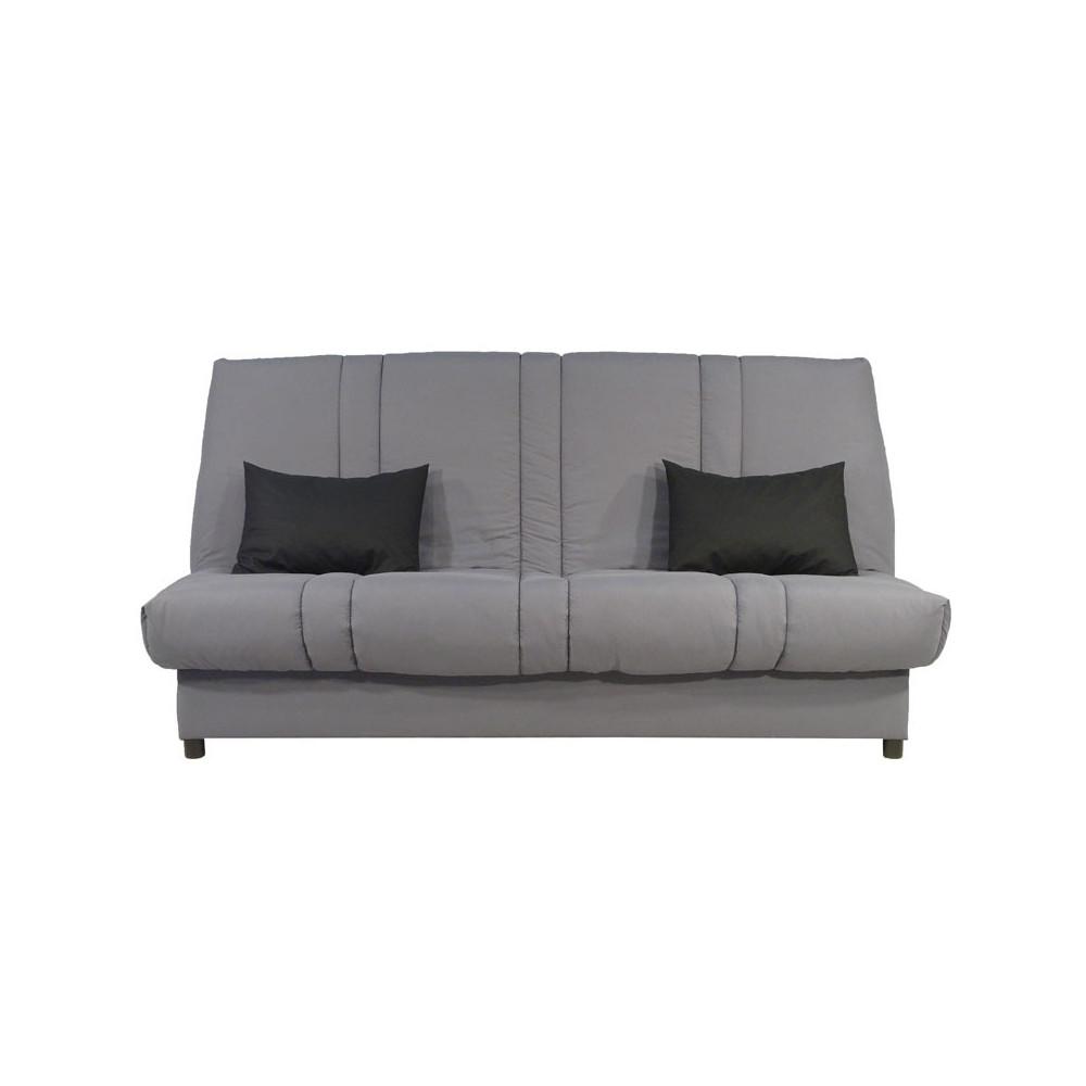 banquette lit clic clac micro grise matelas 11 cm hr 130 cm kari n 5. Black Bedroom Furniture Sets. Home Design Ideas