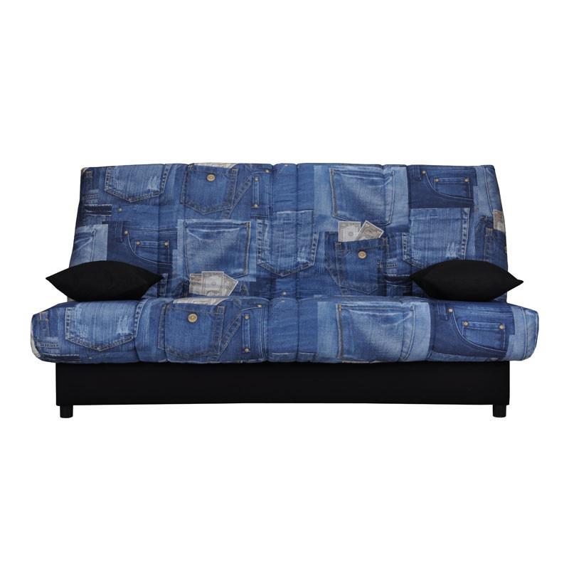 Banquette-lit clic-clac 130*190 cm - convertible tissu bleu motifs coussins noirs - Univers Assises et Salon : Tousmesmeubles