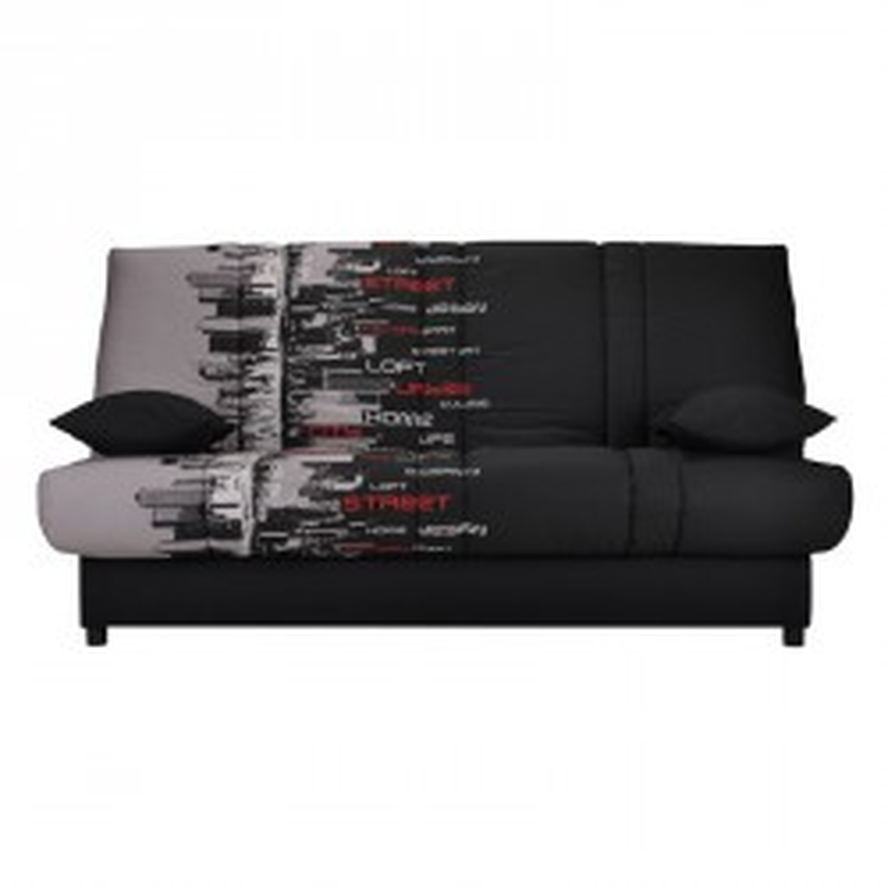 Banquette-lit clic-clac 130*190 cm - convertible noir gris motifs coussins noirs - Univers Assises et Salon : Tousmesmeubles