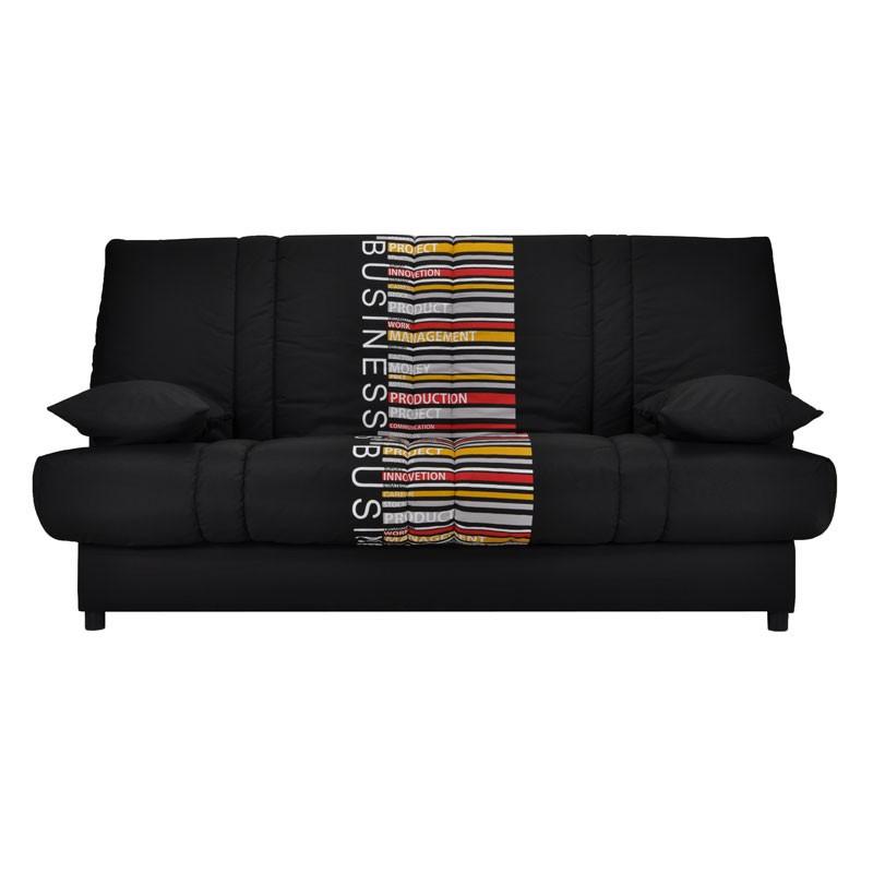 Banquette-lit clic-clac 130*190 cm - convertible noir code barre coussins noirs - Univers Assises et Salon : Tousmesmeubles