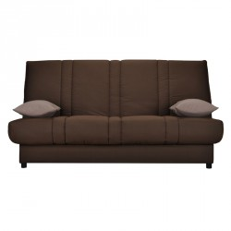 Banquette-lit clic-clac 130*190 cm - convertible tissu marron coussins beige uni - Univers Assises et Salon : Tousmesmeubles