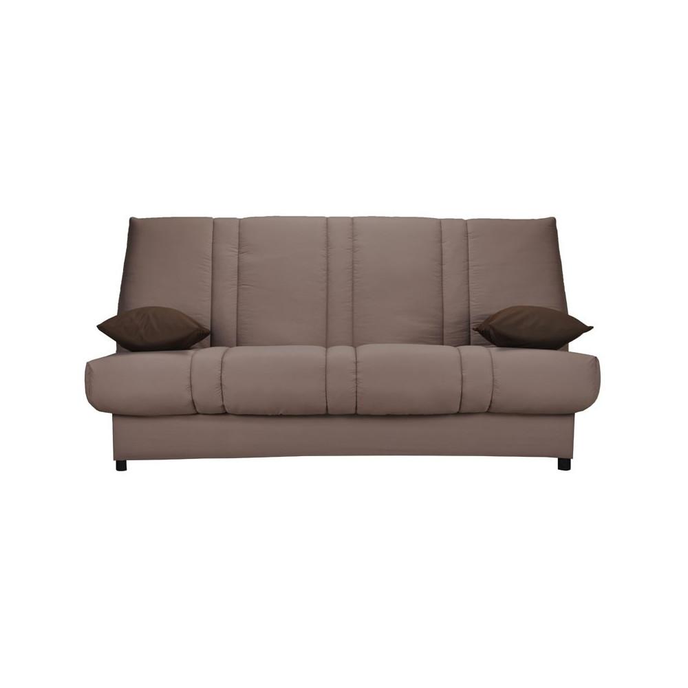 Banquette-lit clic-clac 130*190 cm - convertible tissu beige coussins marrons uni - Univers Assises et Salon : Tousmesmeubles