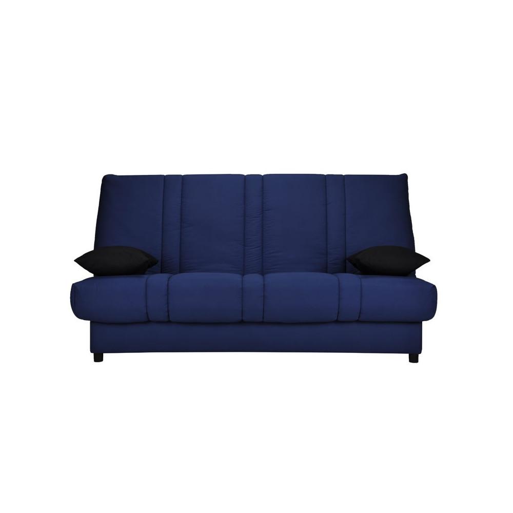 Banquette-lit clic-clac 130*190 cm - convertible bleu coussins noirs uni - Univers Assises et Salon : Tousmesmeubles