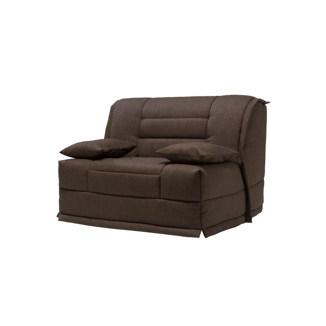 fauteuil lit bz microfibre chocolat uni matelas hr 120 cm speed capy. Black Bedroom Furniture Sets. Home Design Ideas