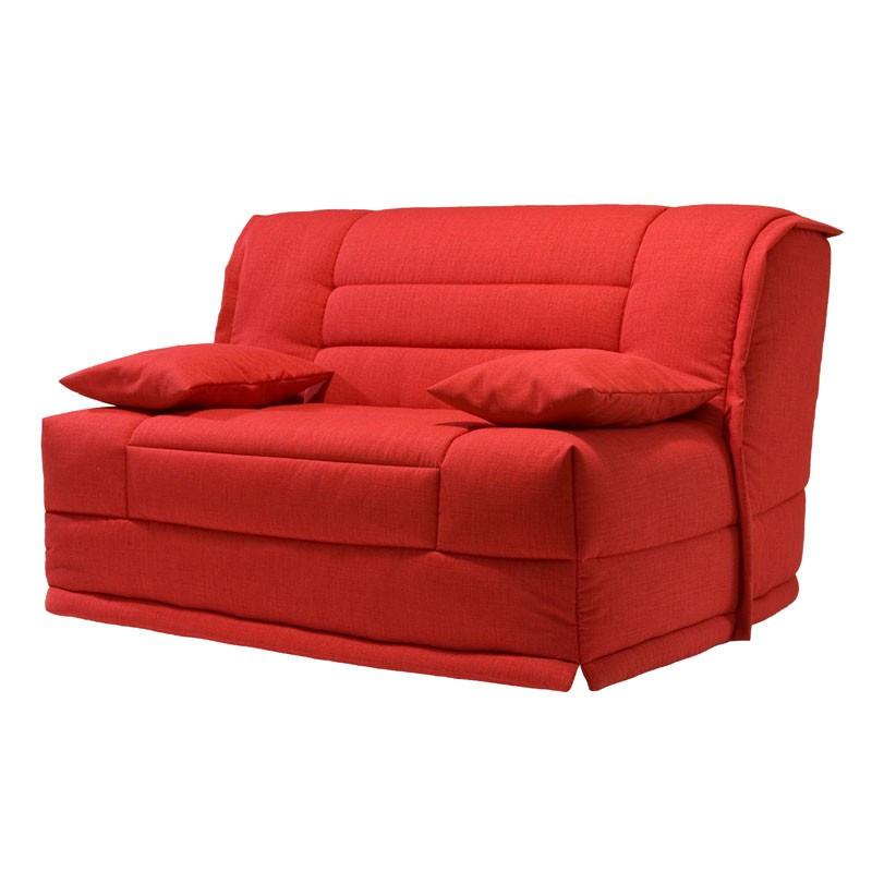 Banquette-lit BZ 140*200 cm - convertible tissu et coussins rouges uni moderne - Univers Assises et Salon : Tousmesmeubles