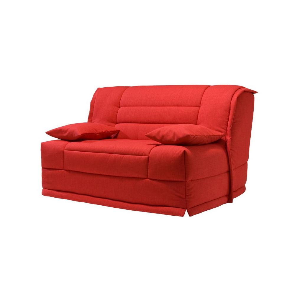 Banquette lit bz tissu rouge uni couss matelas hr 140 cm speed capy - Matelas banquette bz ...