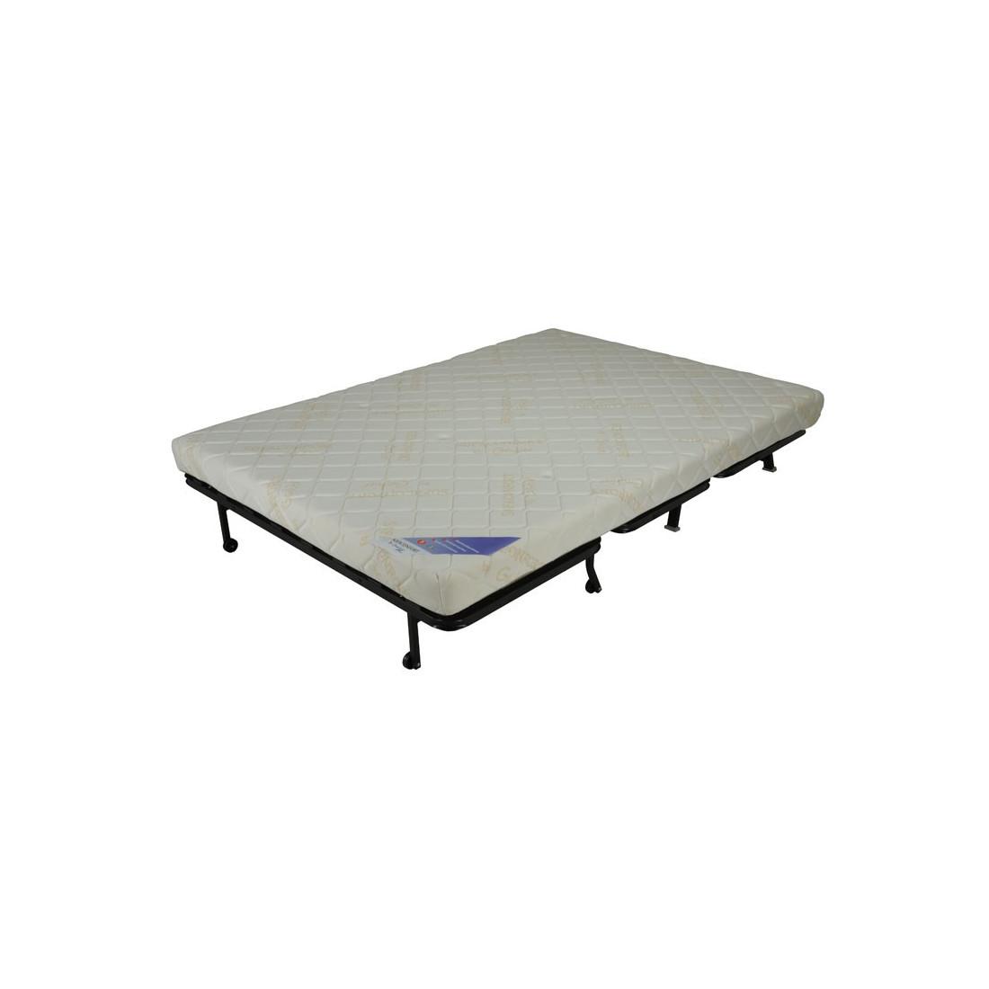banquette lit bz tissu rouge uni couss matelas hr 140 cm speed capy. Black Bedroom Furniture Sets. Home Design Ideas