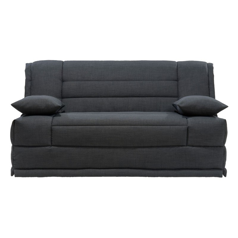 banquette lit bz tissu noir uni coussins matelas hr 160 cm speed capy. Black Bedroom Furniture Sets. Home Design Ideas