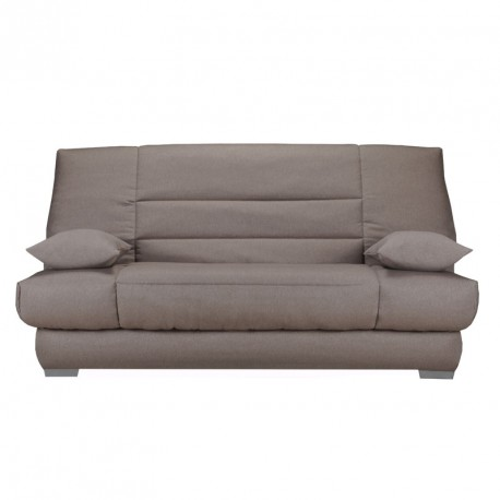 banquette lit clic clac tissu taupe matelas hr 130 cm speed soupir n 3. Black Bedroom Furniture Sets. Home Design Ideas