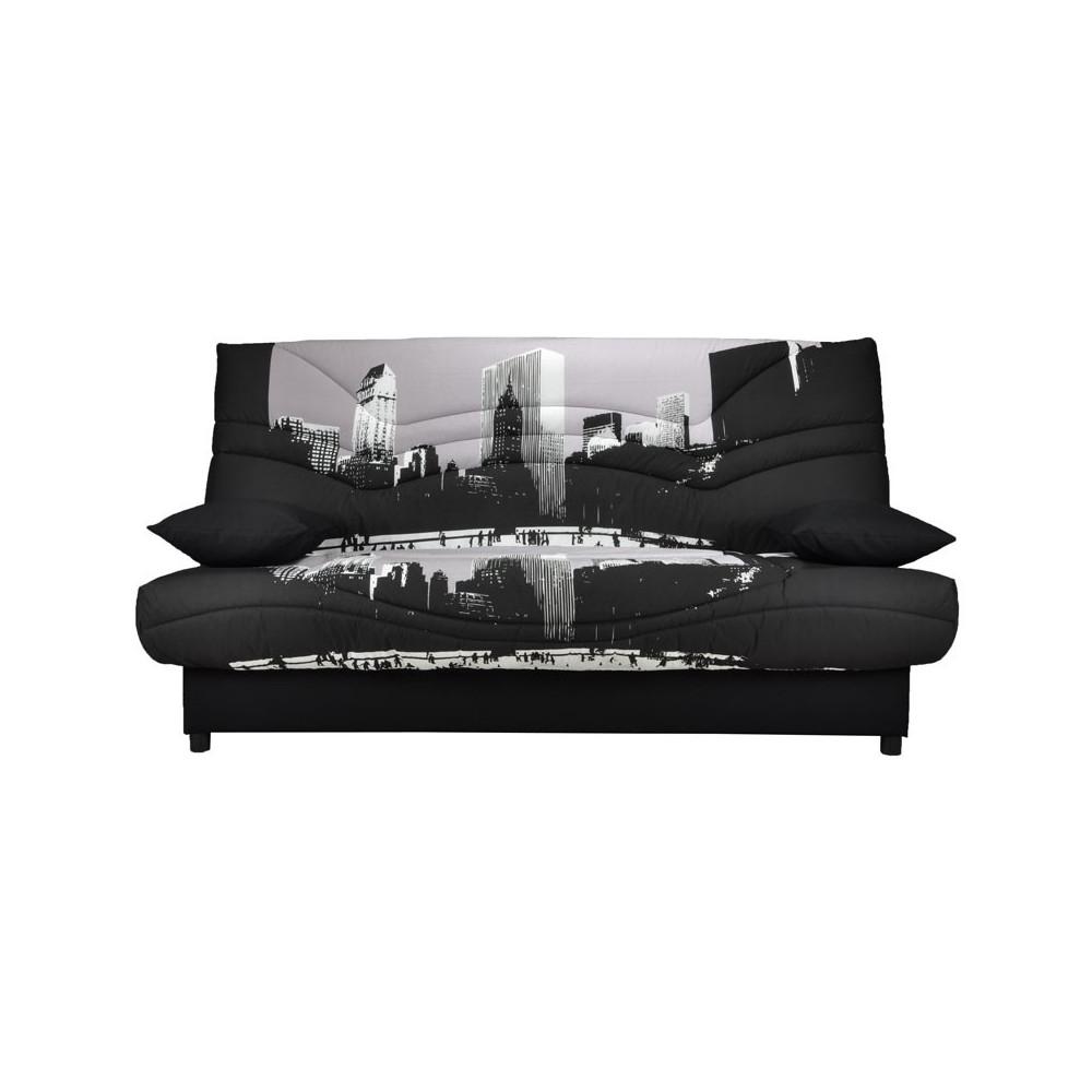Banquette-lit clic-clac 130*190 cm - convertible tissu noir et gris ville - Univers Assises et Salon : Tousmesmeubles