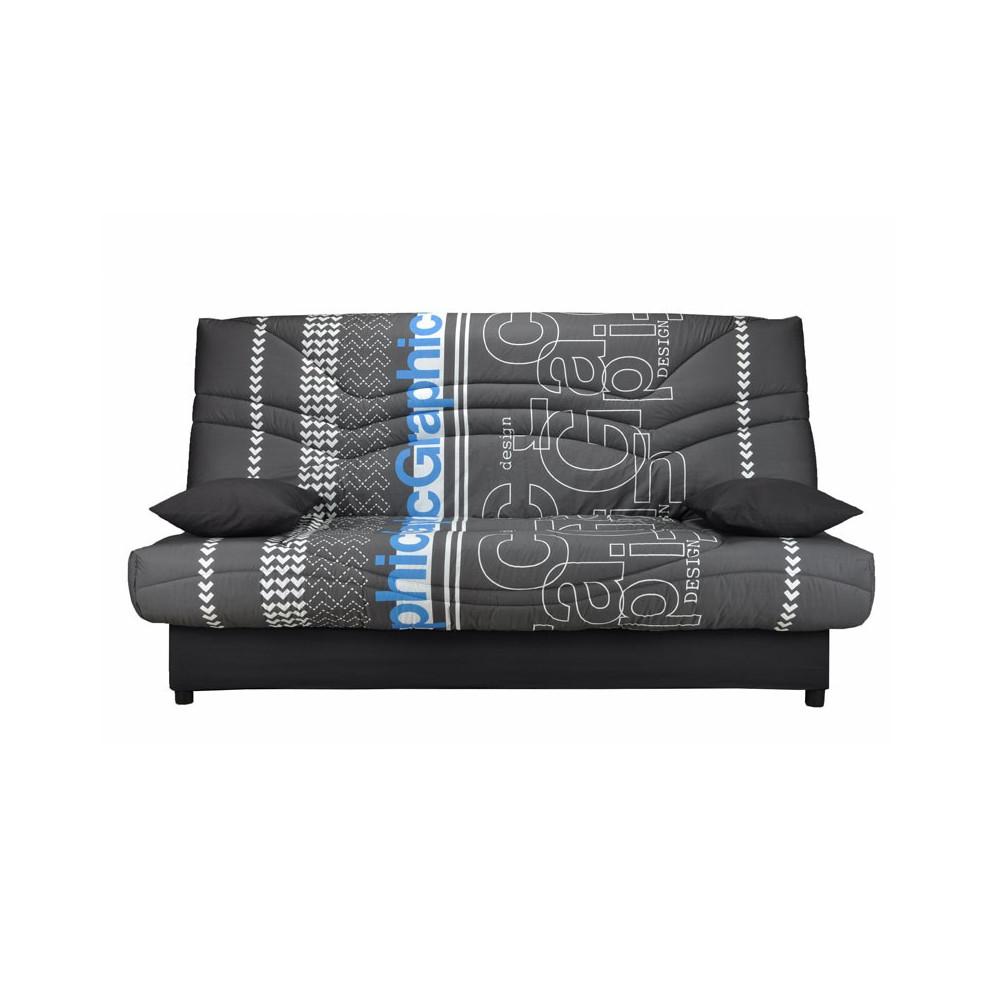 Banquette-lit clic-clac 130*190 cm - convertible tissu gris graphique bleu - Univers Assises et Salon : Tousmesmeubles