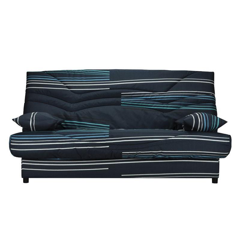 Banquette-lit clic-clac 130*190 cm - convertible tissu rayures bleu - Univers Assises et Salon : Tousmesmeubles