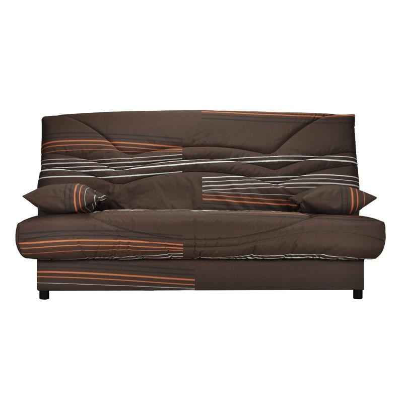 Banquette-lit clic-clac 130*190 cm - convertible tissu marron rayures oranges - Univers Assises et Salon : Tousmesmeubles