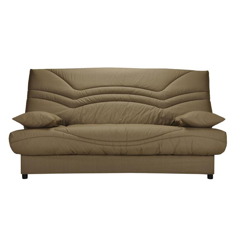 Banquette-lit clic-clac 130*190 cm - convertible tissu et coussins beiges - Univers Assises et Salon : Tousmesmeubles