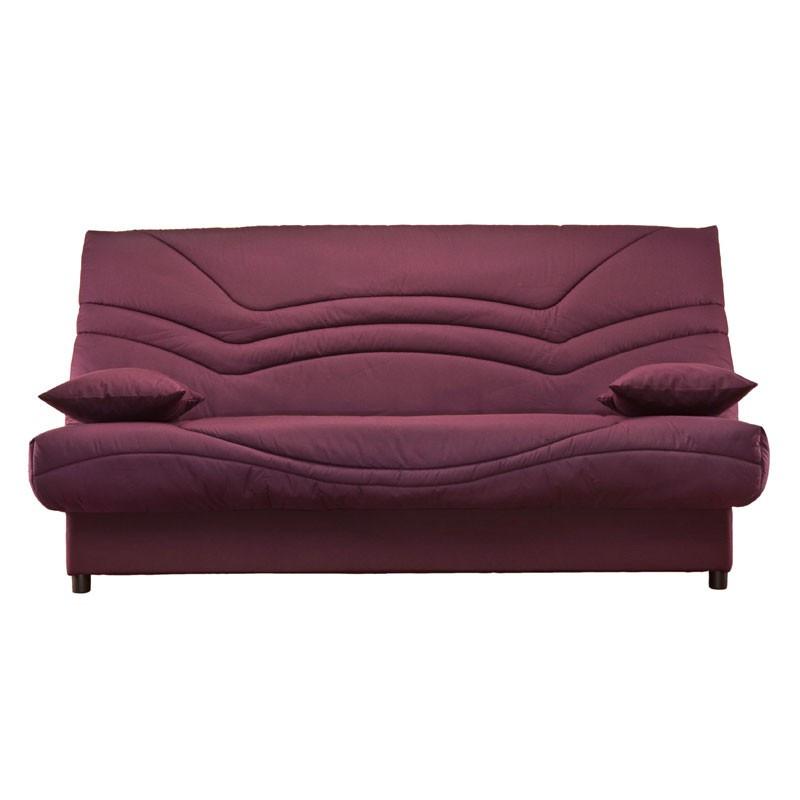 Banquette-lit clic-clac 130*190 cm - convertible tissu et coussins rouges uni - Univers Assises et Salon : Tousmesmeubles