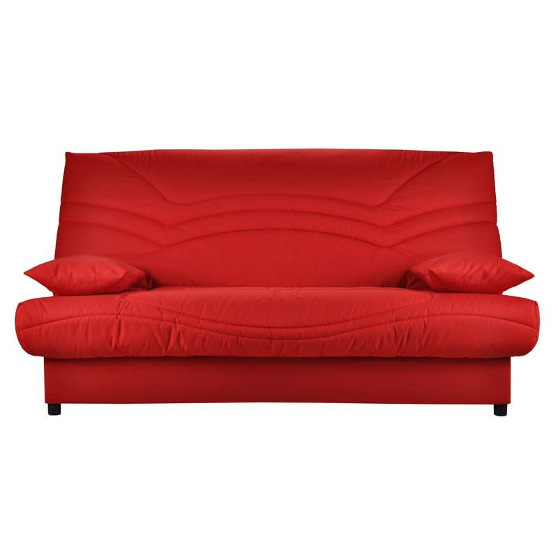 Banquette-lit clic-clac 130*190 cm - convertible tissu et coussins rouges - Univers Assises et Salon : Tousmesmeubles