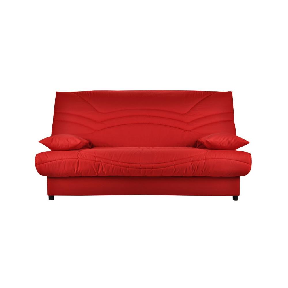 Banquette lit clic clac tissu rouge matelas hr 130cm speed tsar n 11 - Matelas banquette clic clac ...