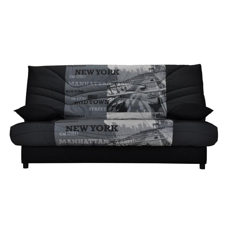 Banquette-lit clic-clac 130*190 cm - convertible tissu noir et gris ecriture - Univers Assises et Salon : Tousmesmeubles