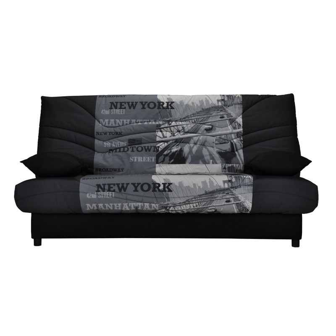 banquette lit clic clac gris noir ny matelas hr 130 cm speed tsar n 12. Black Bedroom Furniture Sets. Home Design Ideas