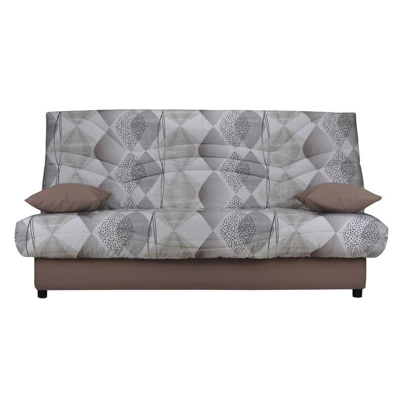 Banquette-lit clic-clac 130*190 cm - convertible tissu gris motifs coussins marron - Univers Assises et Salon : Tousmesmeubles