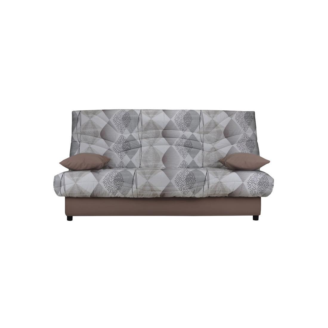 banquette lit clic clac motifs gris matelas hr 130 cm speed tsar n 14. Black Bedroom Furniture Sets. Home Design Ideas