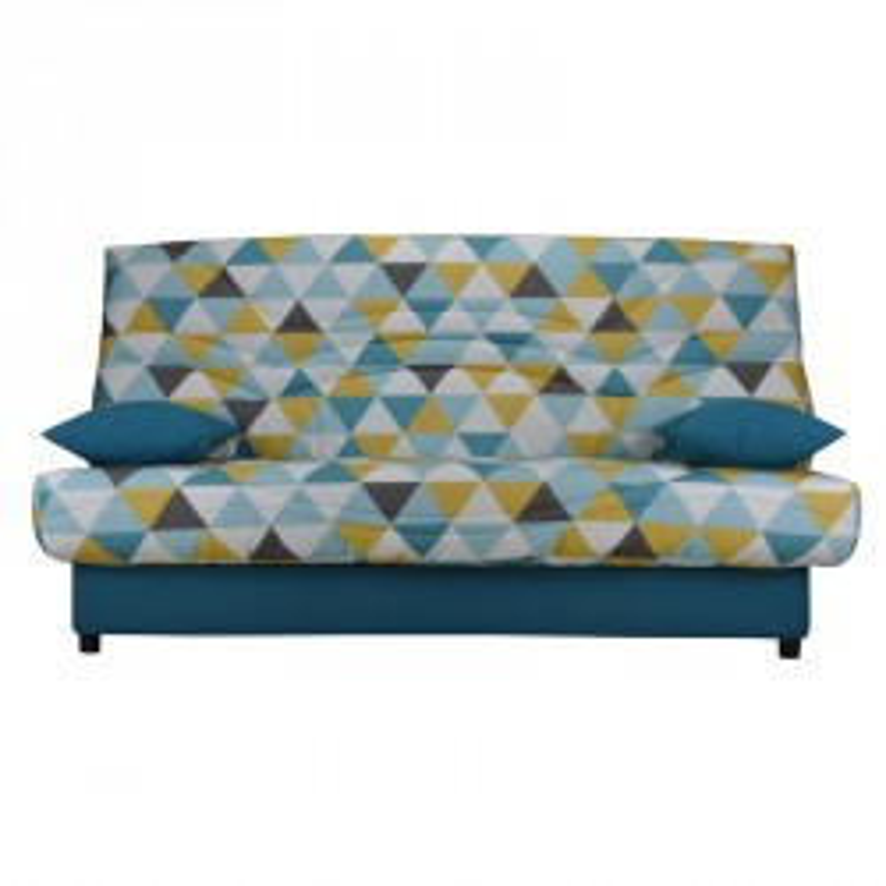 Banquette-lit clic-clac 130*190 cm - convertible tissu bleu gris jaune motifs - Univers Assises et Salon : Tousmesmeubles