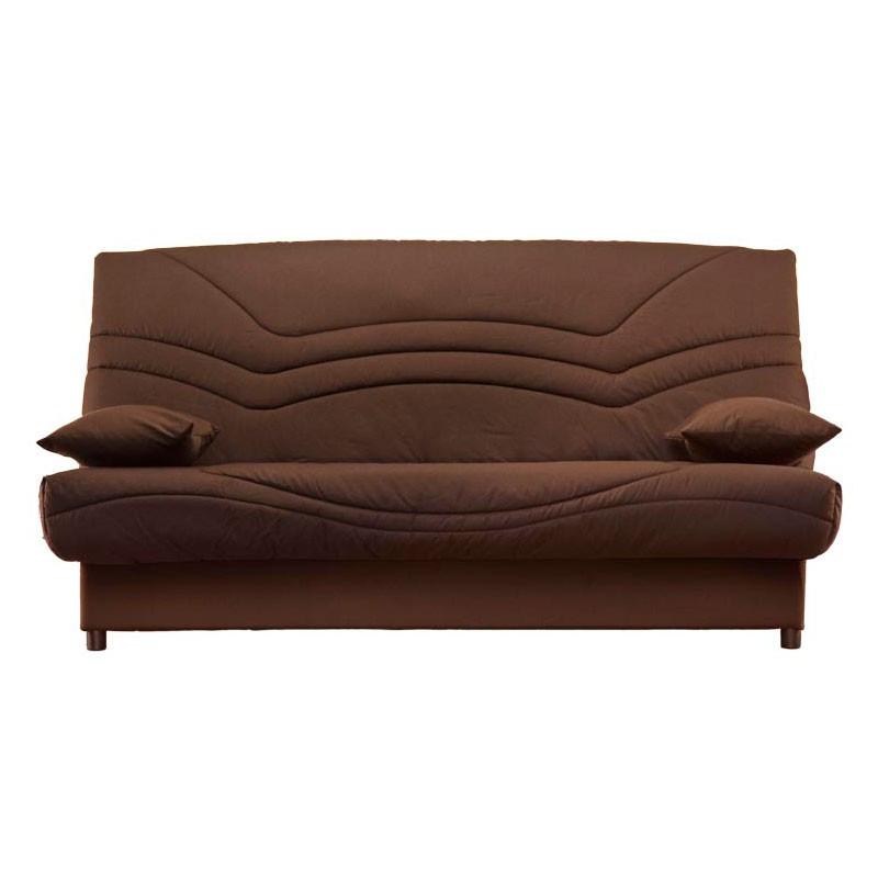 Banquette-lit clic-clac 130*190 cm - convertible tissu marron chocolat uni - Univers Assises et Salon : Tousmesmeubles