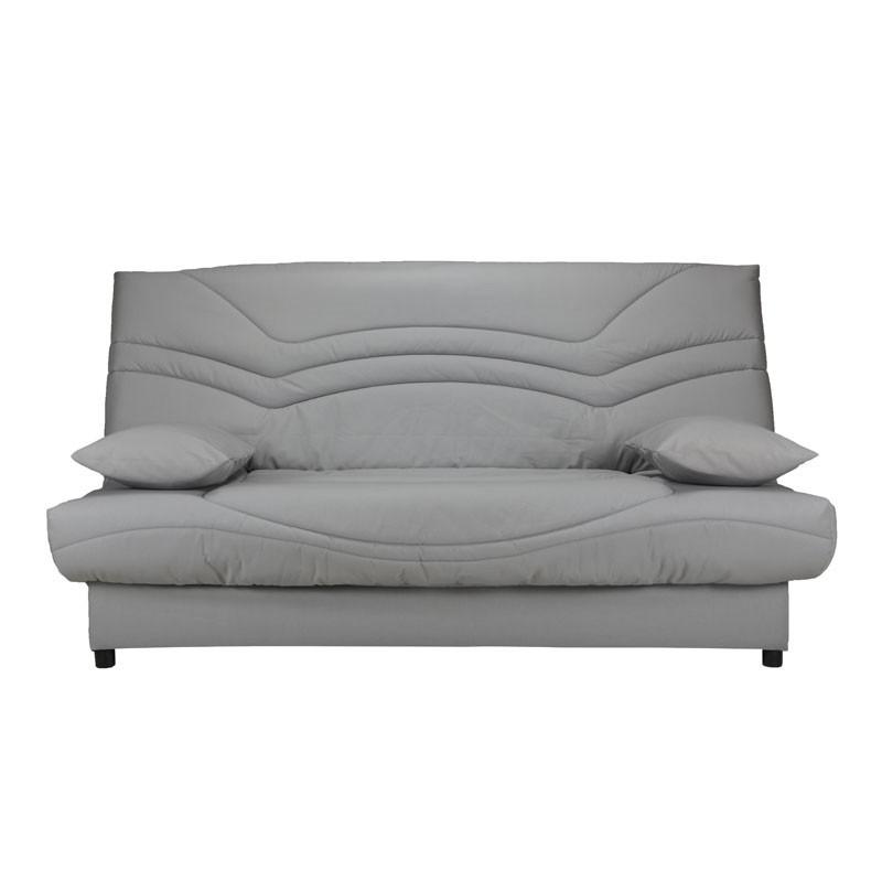 Banquette-lit clic-clac 130*190 cm - convertible tissu gris clair uni - Univers Assises et Salon : Tousmesmeubles