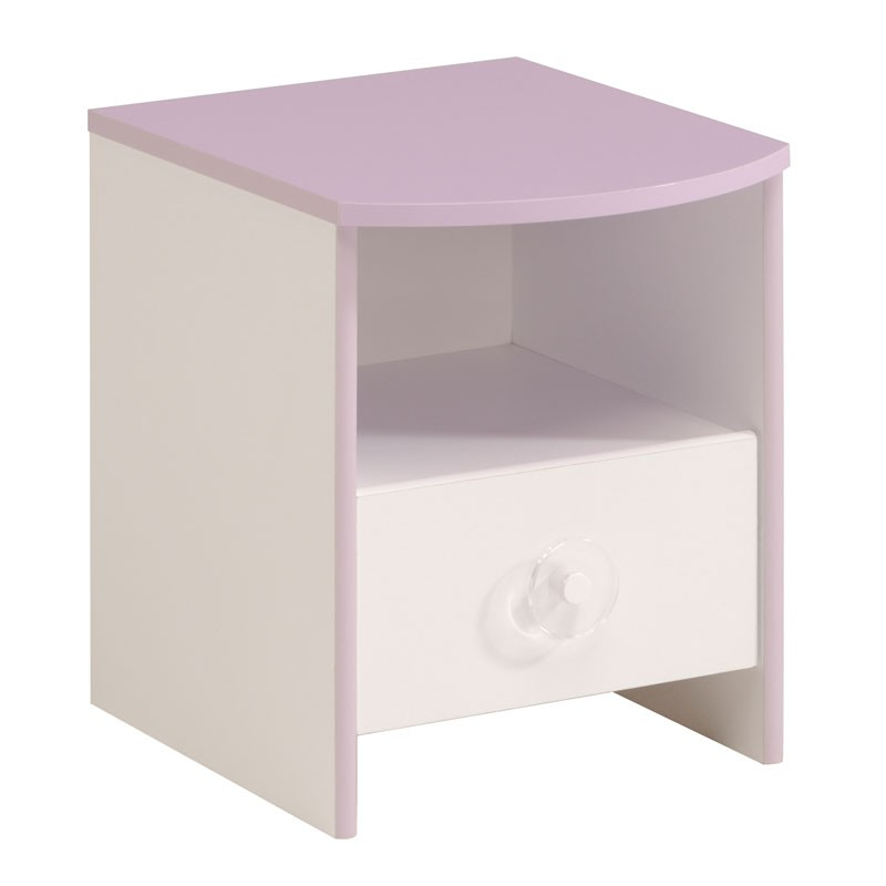 Table de chevet blanc lilas 1 niche 1 tiroir lady - Table de chevet blanc ...