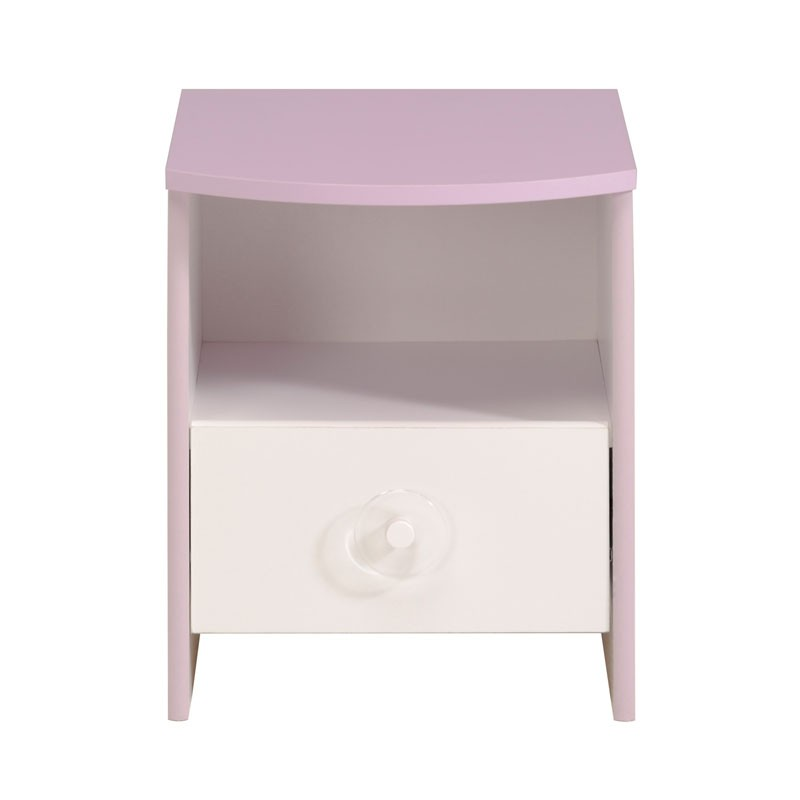 Table de chevet blanc lilas 1 niche 1 tiroir lady - Table de chevet bois blanc ...