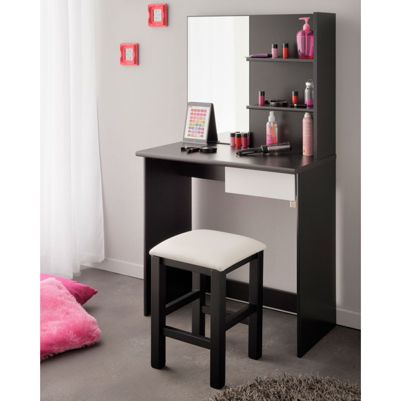 coiffeuse miroir tiroir bois noir blanc nelly univers chambre. Black Bedroom Furniture Sets. Home Design Ideas