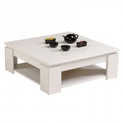 Table basse double plateau bois blanc - Univers Salon : Tousmesmeubles