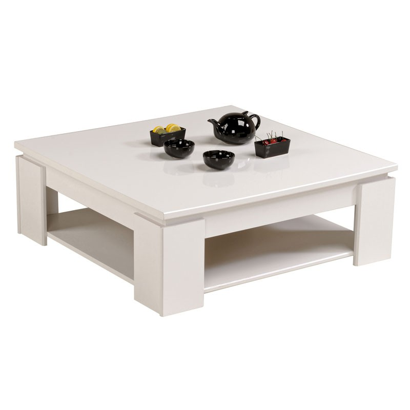 Table basse carr e blanche bois moderne quadal univers salon for Table basse industrielle blanche