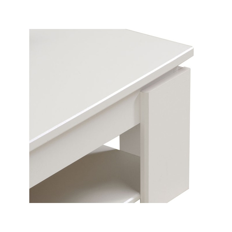 Table basse carr e blanche bois moderne quadal univers salon for Table blanche carree