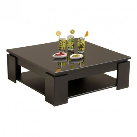 table basse carr e bois noir moderne quadal univers salon. Black Bedroom Furniture Sets. Home Design Ideas